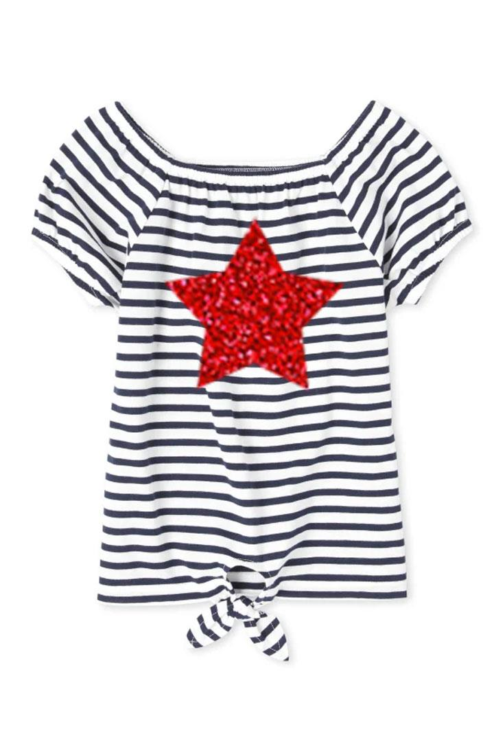 Red Sparkle Star Shirt Black White Stripe Tie
