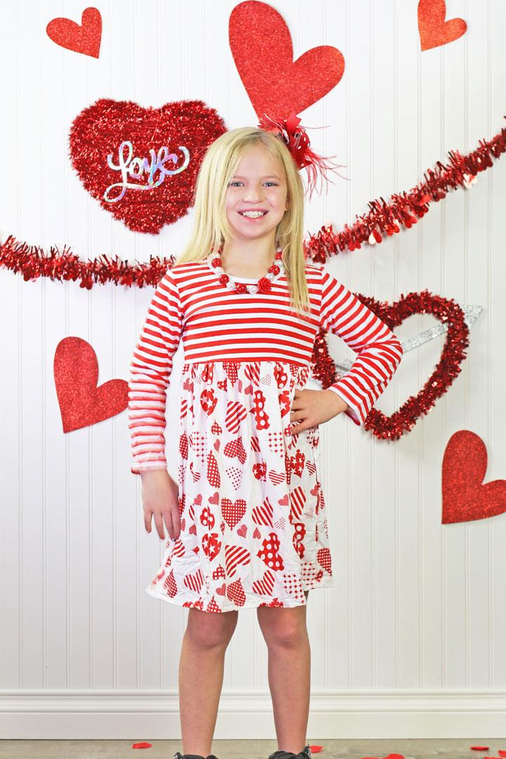Red Stripe Heart Patch Dress
