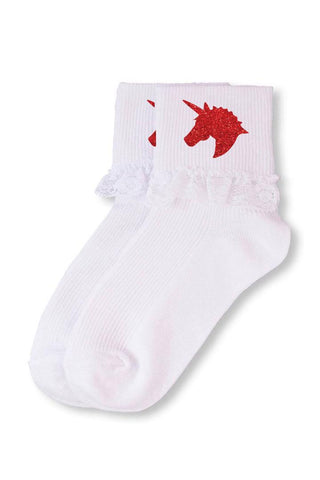 Red Unicorn Lace Socks