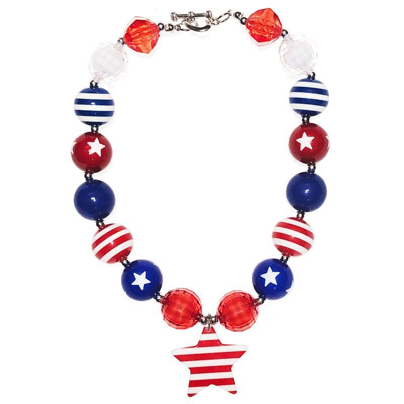 Red White Blue Necklace Stripe Star