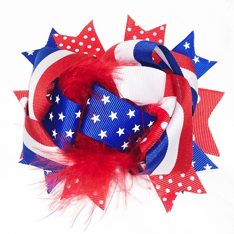 Red White Blue Polka Hair Bow