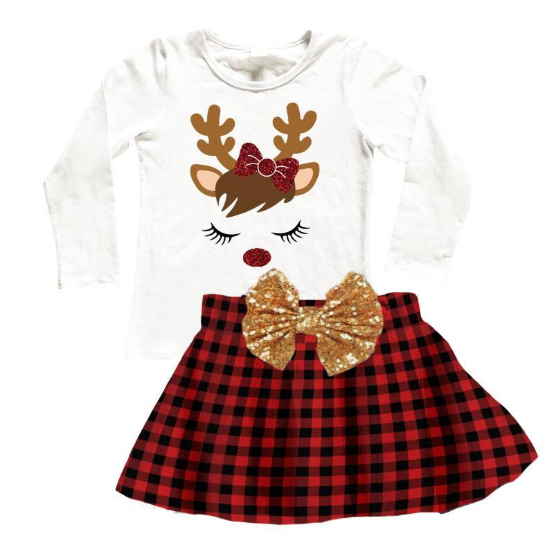 Reindeer Buffalo Checkered Plaid Outfit Gold Bow Top And Skirt
