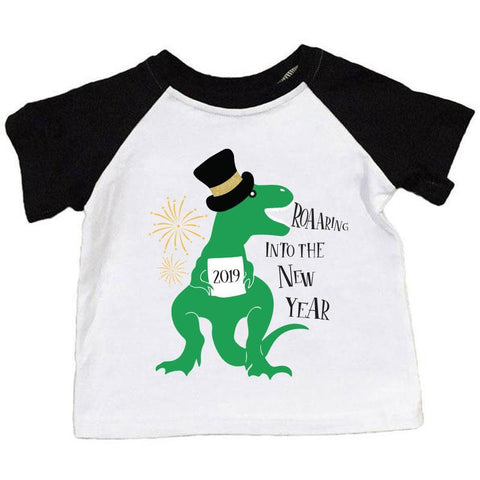 Roaaring Into The New Year Shirt Dinosaur Raglan Black White Boy