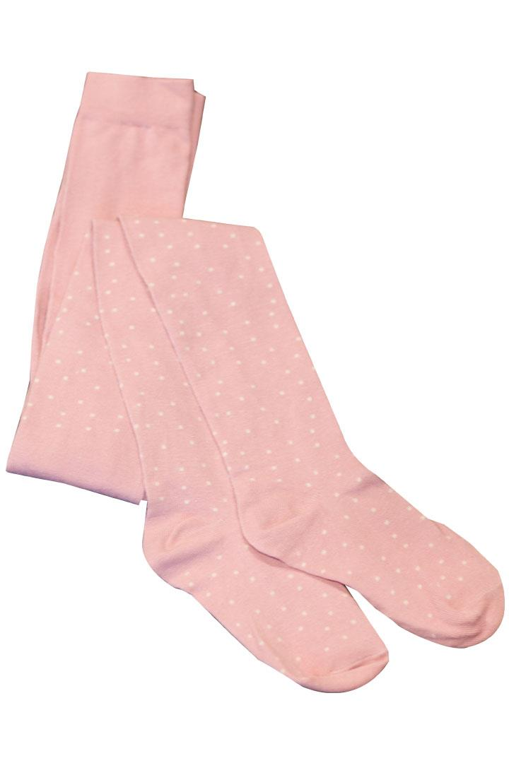 Rose Pink Polka Dot Toddler Tights