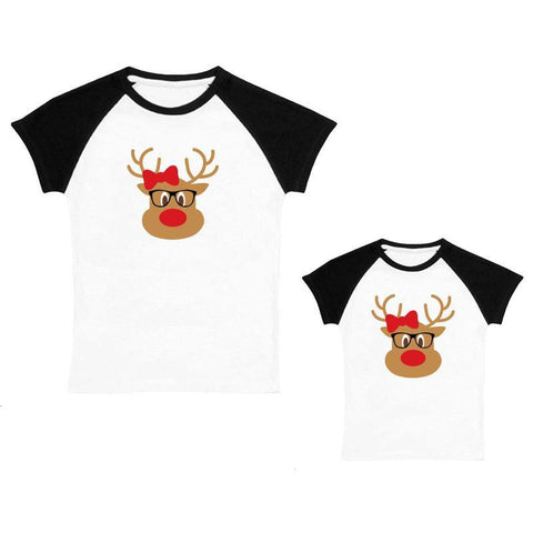 Rudolph Glasses Shirt Black Raglan Mommy And Me