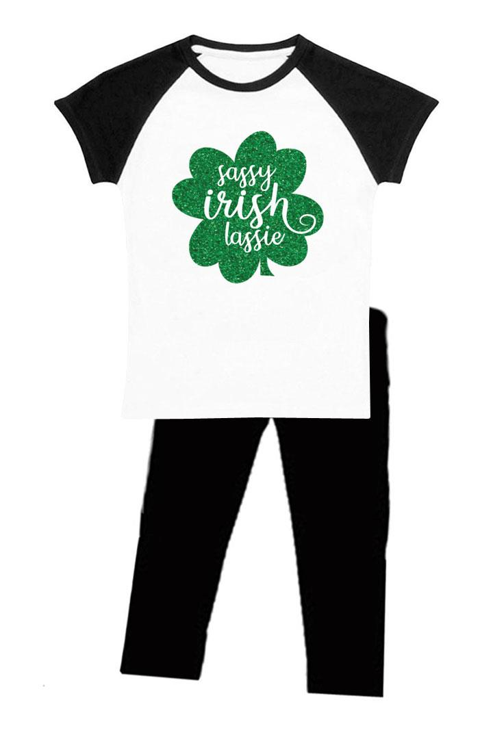 Sassy Irish Lassie Outfit Black Raglan Top And Pants No Knee Clover