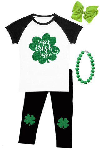 Sassy Irish Lassie Outfit Black Raglan Top And Pants