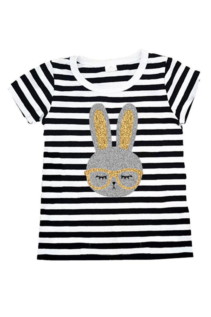 Silver Gold Bunny Glasses Shirt Black Stripe