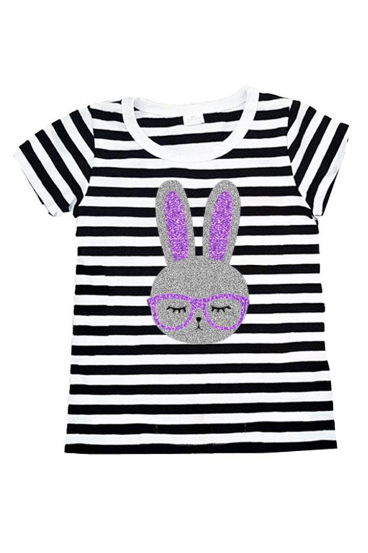 Silver Purple Bunny Glasses Shirt Black Stripe Mommy And Me