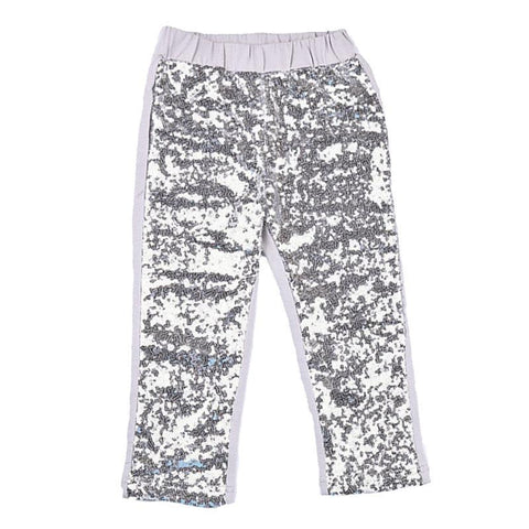 Silver Sequin Pants Gray