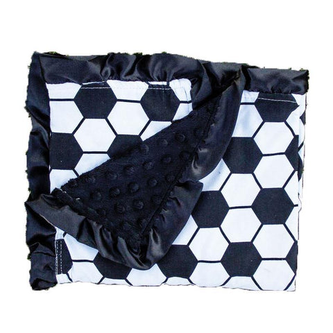Soccer Ball Black Minky Blanket