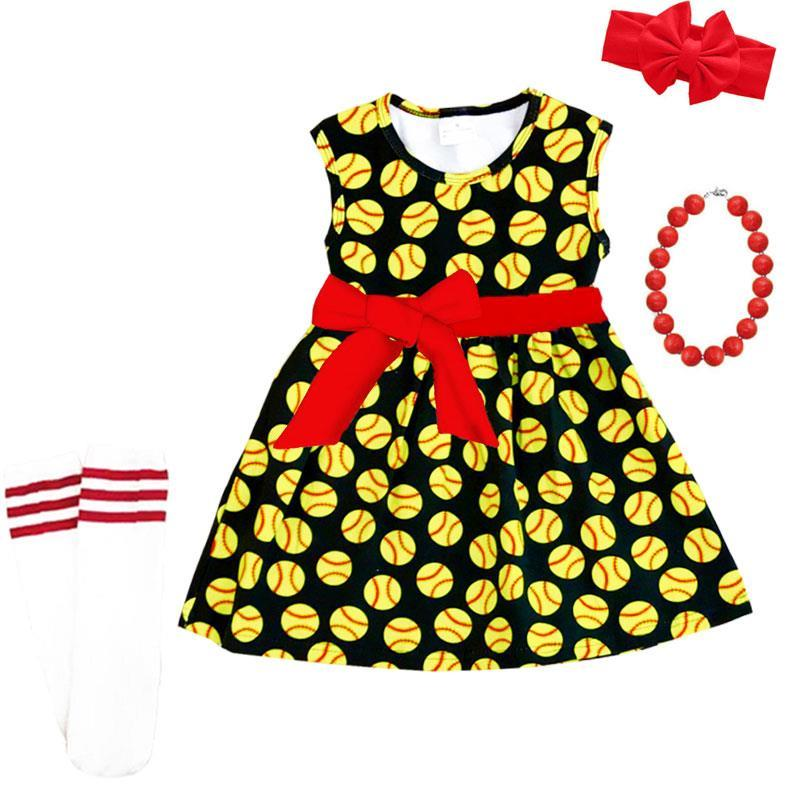 Softball Dress Red Bow Black