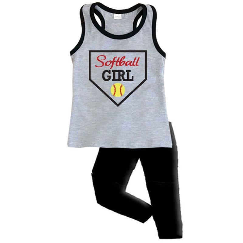 Softball Mom Girl Outfit Gray Black Tank Top And Capri Mommy Me