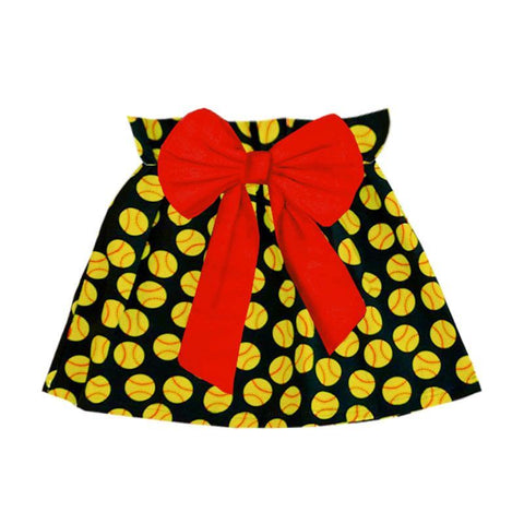 Softball Skirt Red Bow Black