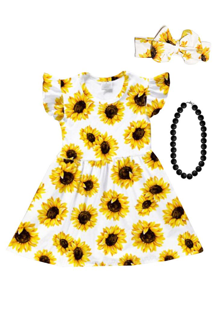 Spring Sunflower Ruffle Dress