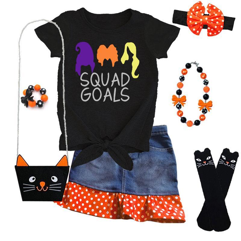 Squad Goals Denim Outfit Orange Polka Dot Top And Skirt