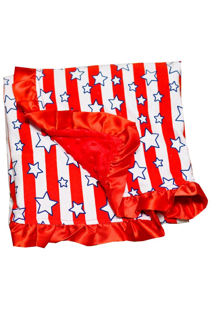 Star Red Stripe Minky Blanket