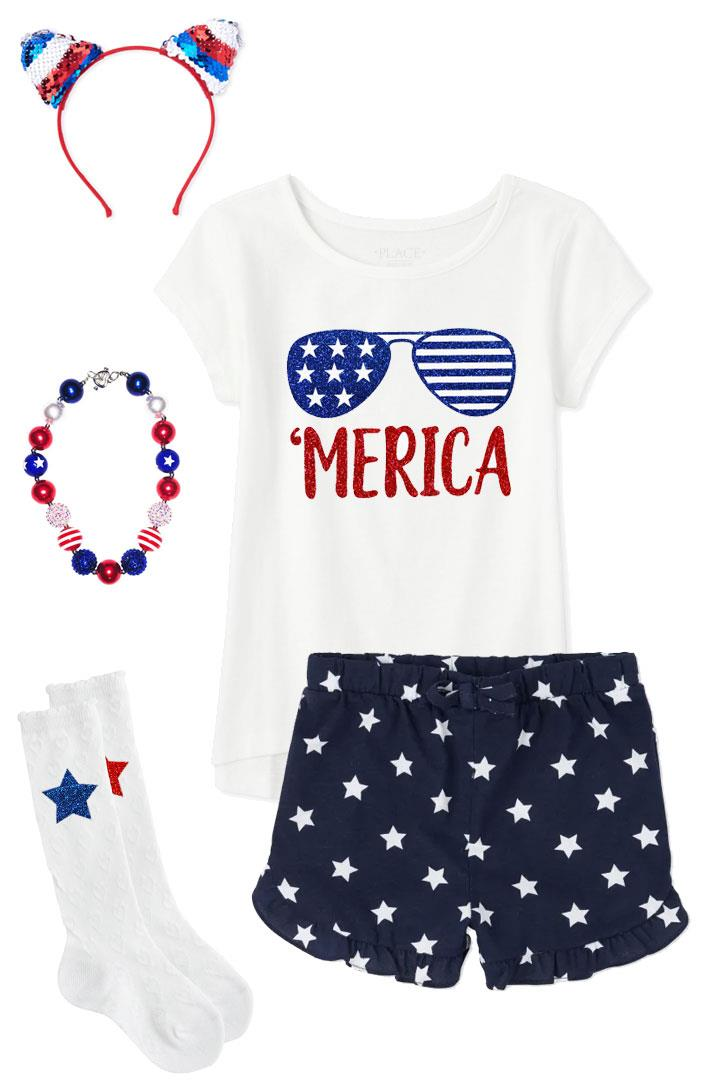 Stars Merica Outfit Glasses Top And Shorts