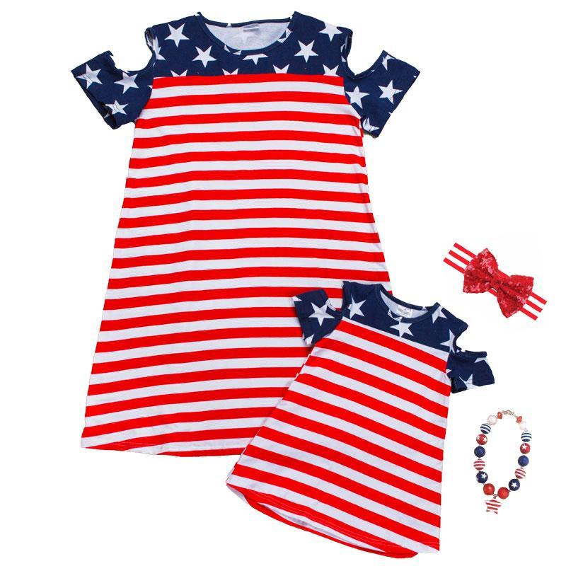 Stars Stripe Dress Over Shoulder Mommy Me