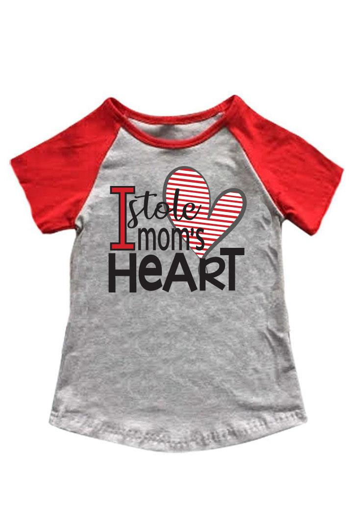 Stole Moms Heart Shirt Red Gray Raglan