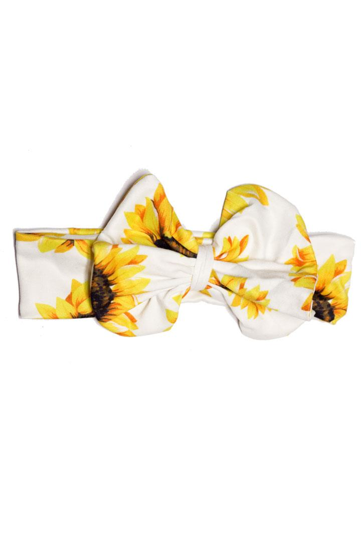 Sunflower White Messy Bow Headband