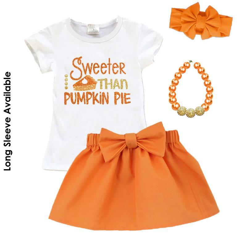 Sweeter Than Pumpkin Pie Outfit Sparkle Orange Top And Skirt