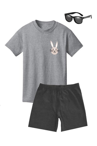 Tan Pocket Bunny Shirt Heather Gray Boy