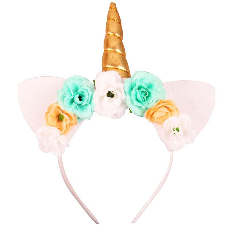 Teal Gold White Flower Unicorn Headband