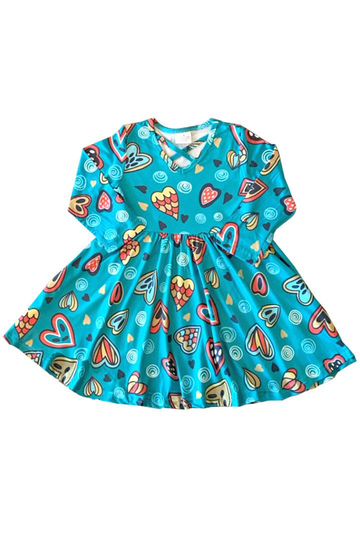 Teal Mermaid Swirl Heart Dress