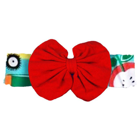 Teal School Red Messy Bow Headband