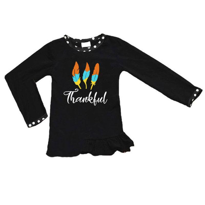 Thankful Feather Shirt Black Polka Dot