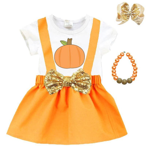 Thanksgiving Pumpkin Outfit Gold Orange Top And Jumper