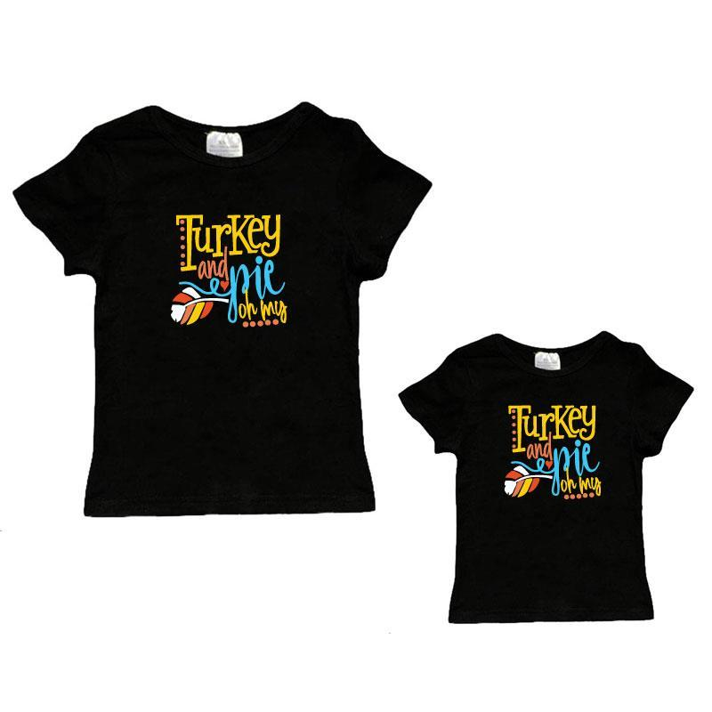 Turkey And Pie Oh My Shirt Black Mommy And Me