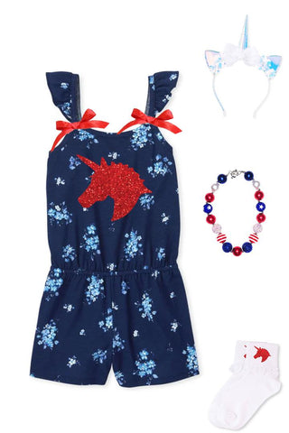 Unicorn Floral Romper Navy Red Bows
