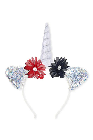 Unicorn Flower Flip Sequin Headband Red Blue Silver