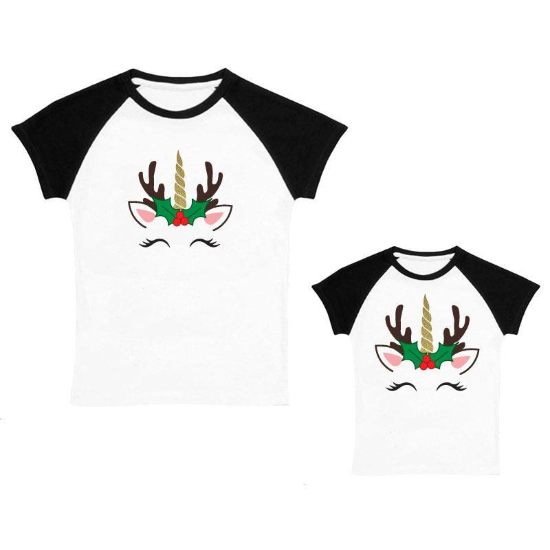 Unicorn Holly Deer Shirt Black Raglan Mommy And Me