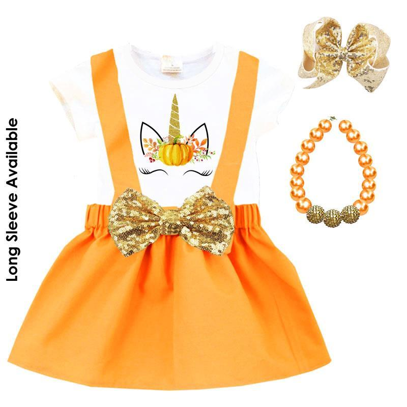 Unicorn Thanksgiving Outfit Orange Gold Top And Jumper
