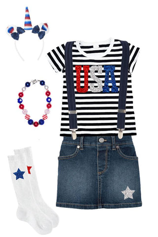 Usa Black Stripe Outfit Denim Top Skirt And Suspenders