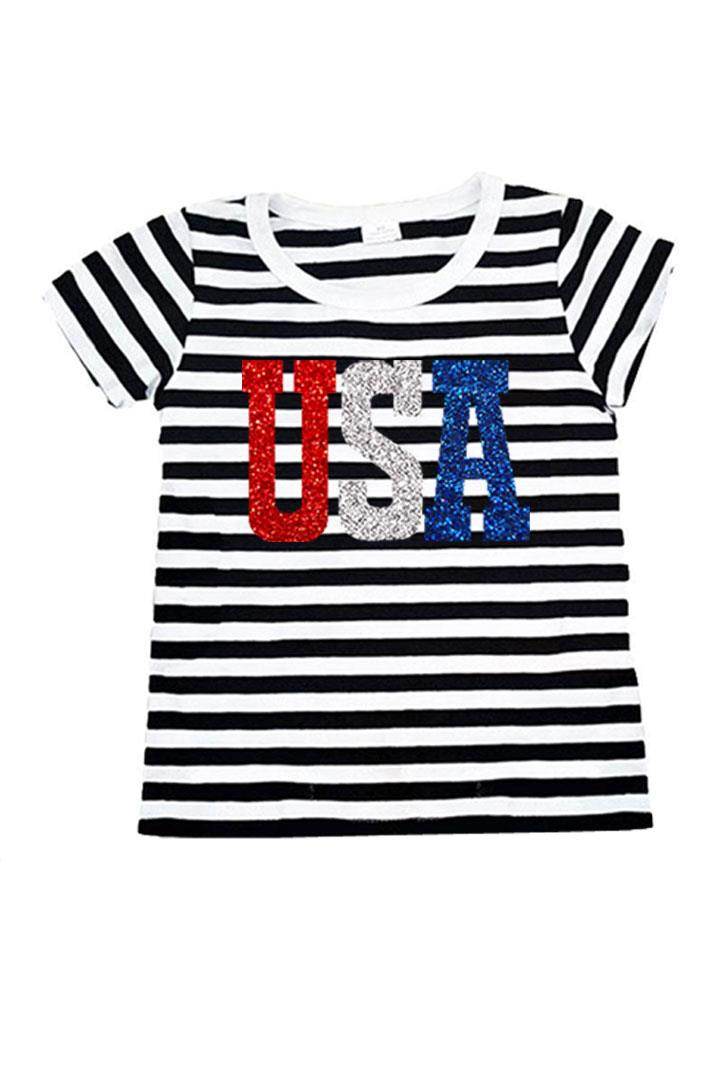 Usa Black Stripe Shirt Mommy Me