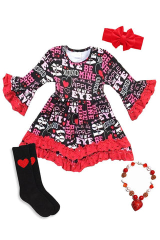 Valentine Love Dress Red Lace Ruffle