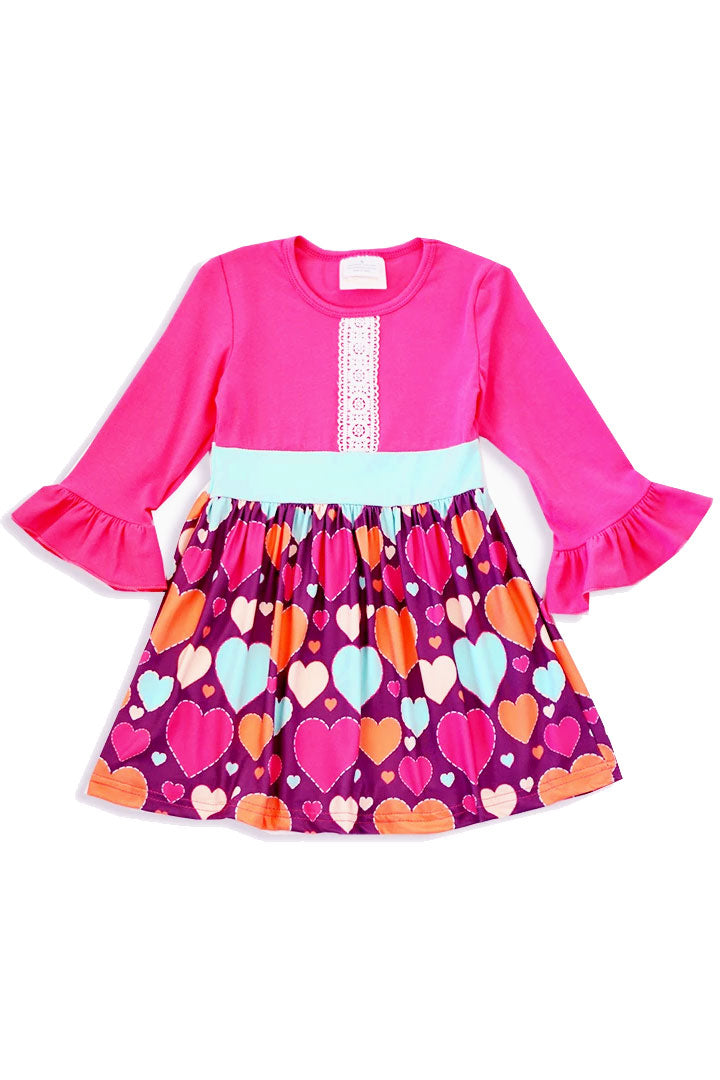 Valentines Pink Teal Hearts Dress
