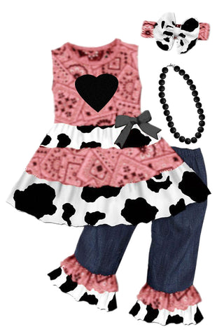 Vintage Cow Bandana Heart Outfit Coral Denim Ruffle Top And Pants