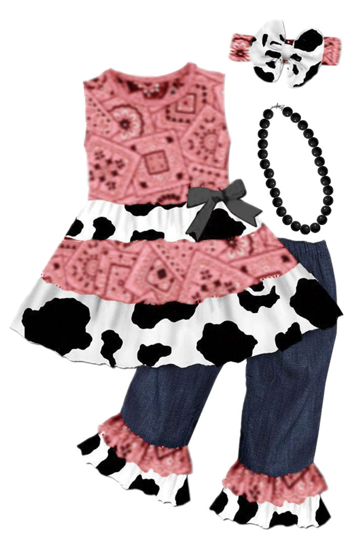 Vintage Cow Bandana Outfit Coral Denim Ruffle Top And Pants