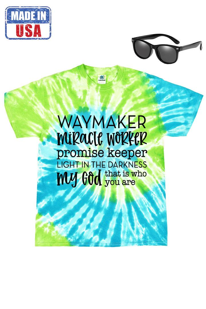 Way Maker Tie Dye Shirt Green Blue