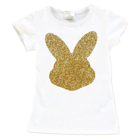 White Gold Bunny Shirt Sparkle Mommy Me