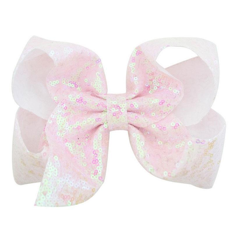 White Pearl Sequin Hair Bow 8 Inch