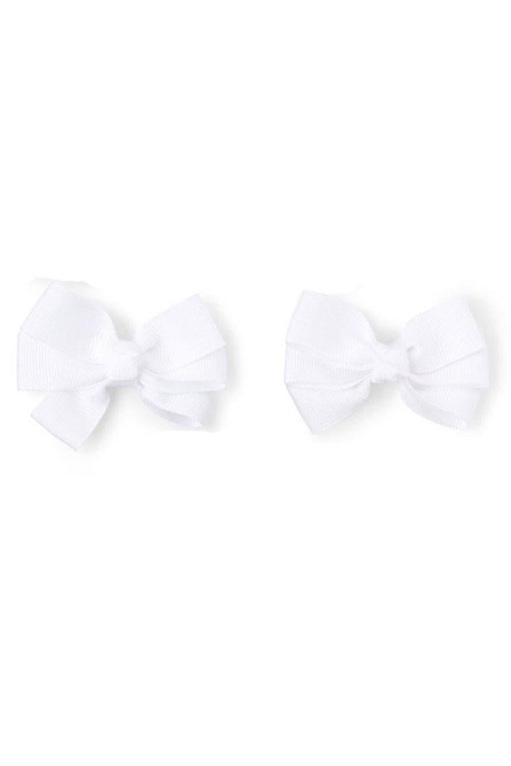 White Pigtail Hair Bows 2 Pc