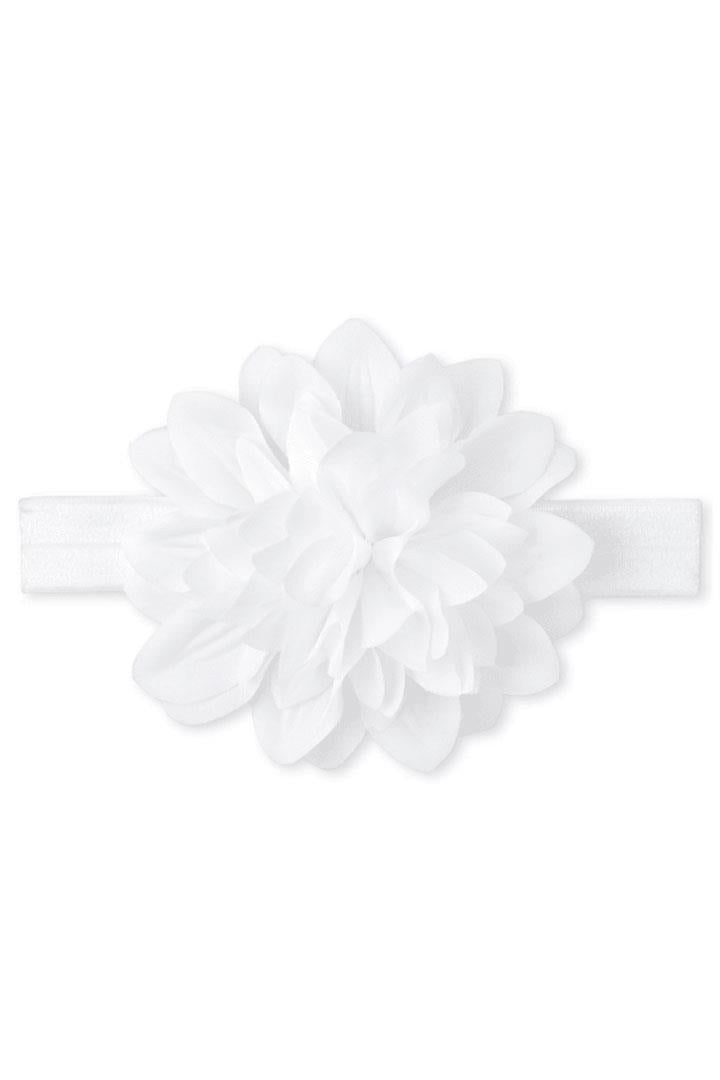 White Round Flower Headband