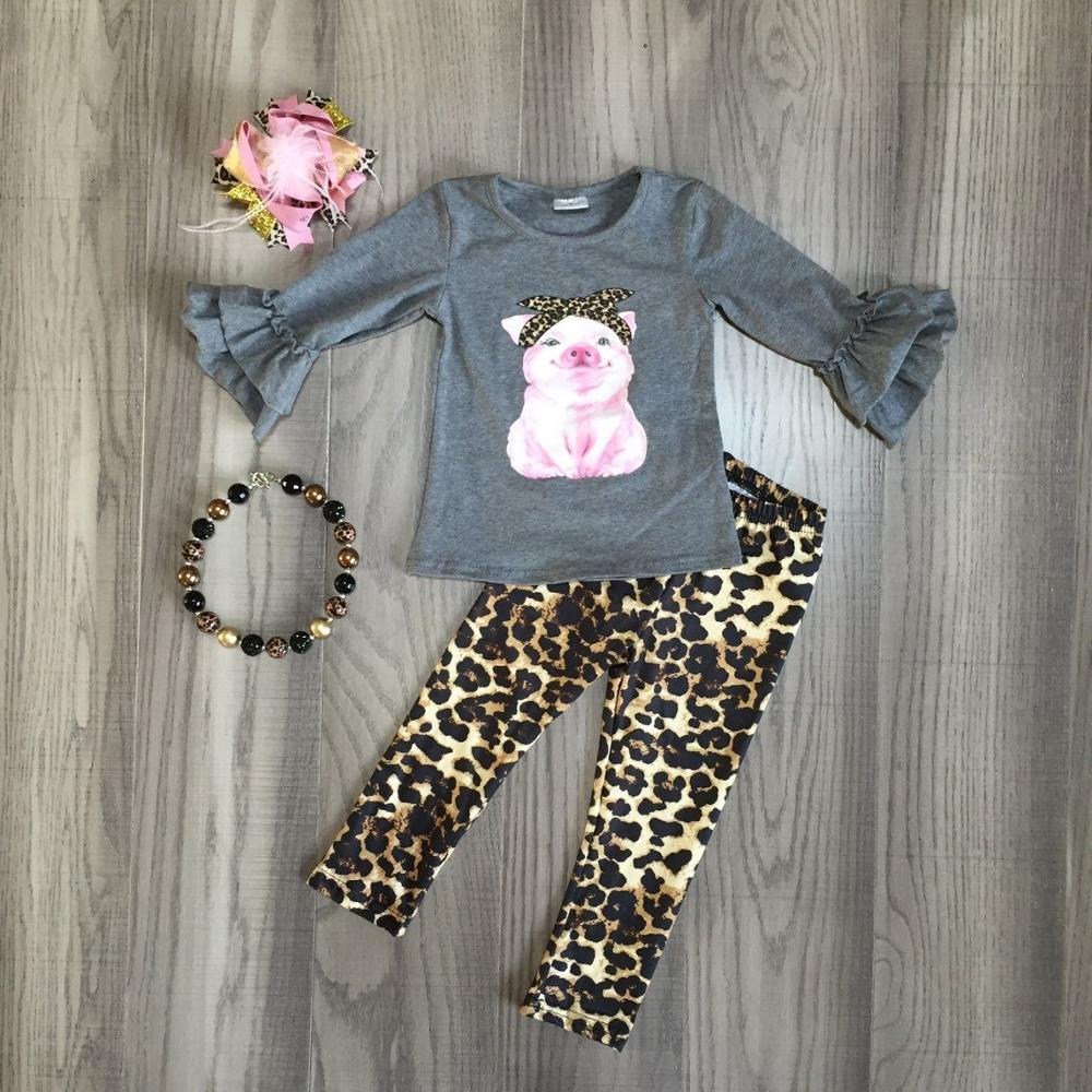 Leopard Pig Outfit Gray Ruffle Top Pants