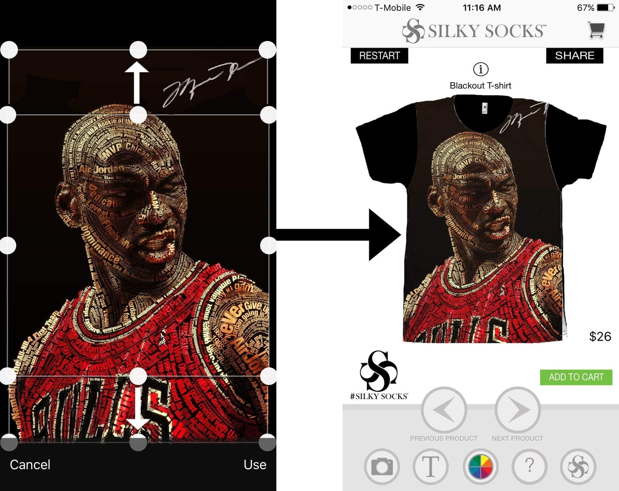 Create Your Own T-Shirt using the Silky Socks APP!
